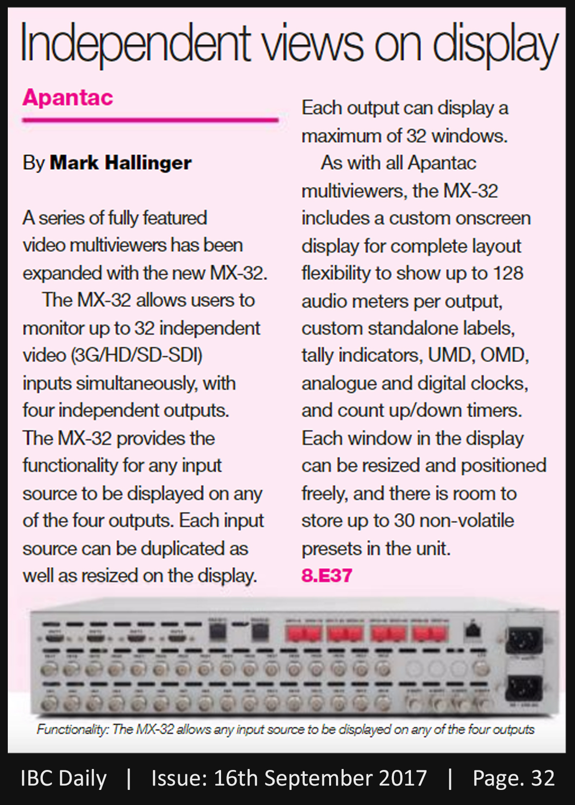 Apantac_Cost Effective Multiviewers_IBC Daily_16.09.2017_Pg 32