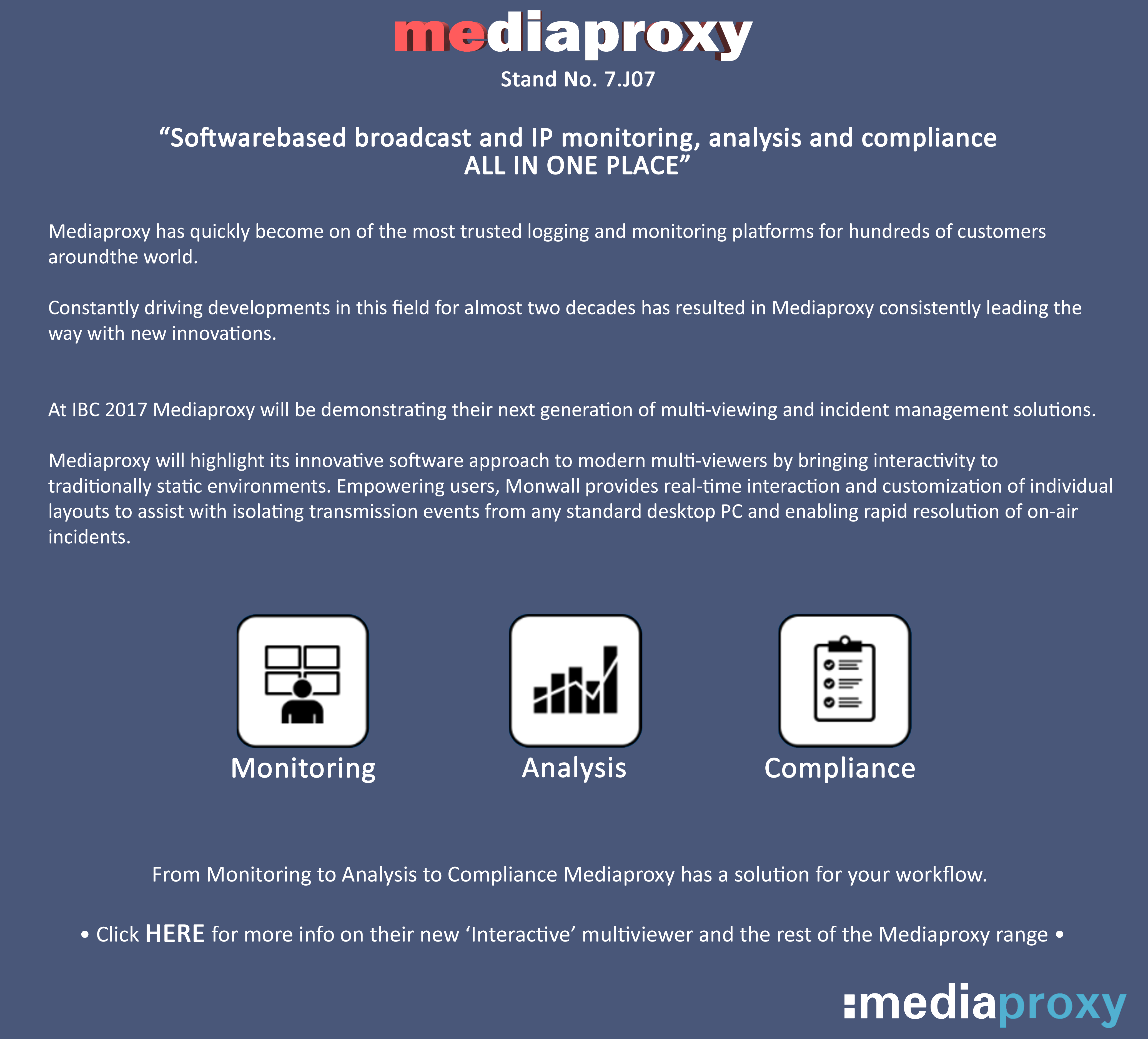What To See At IBC 2017_Mediaproxy_IP Monitoring, Analysis and Compliance