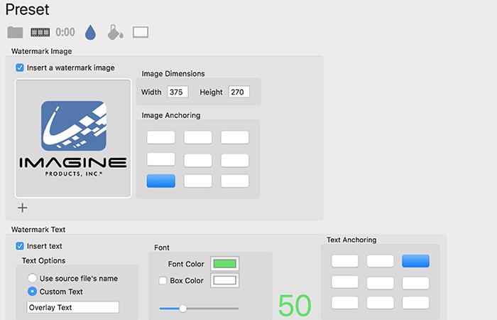Imagine Products_PrimeTranscoder_TimeCode & Watermark Screenshot