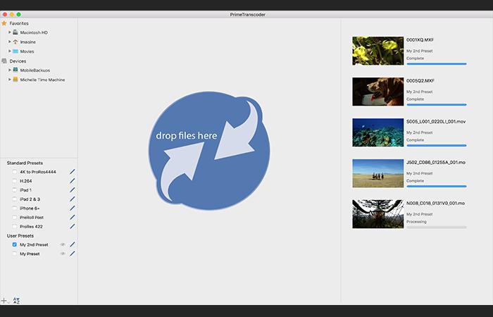 Imagine Products_PrimeTranscoder_User Interface Screenshot