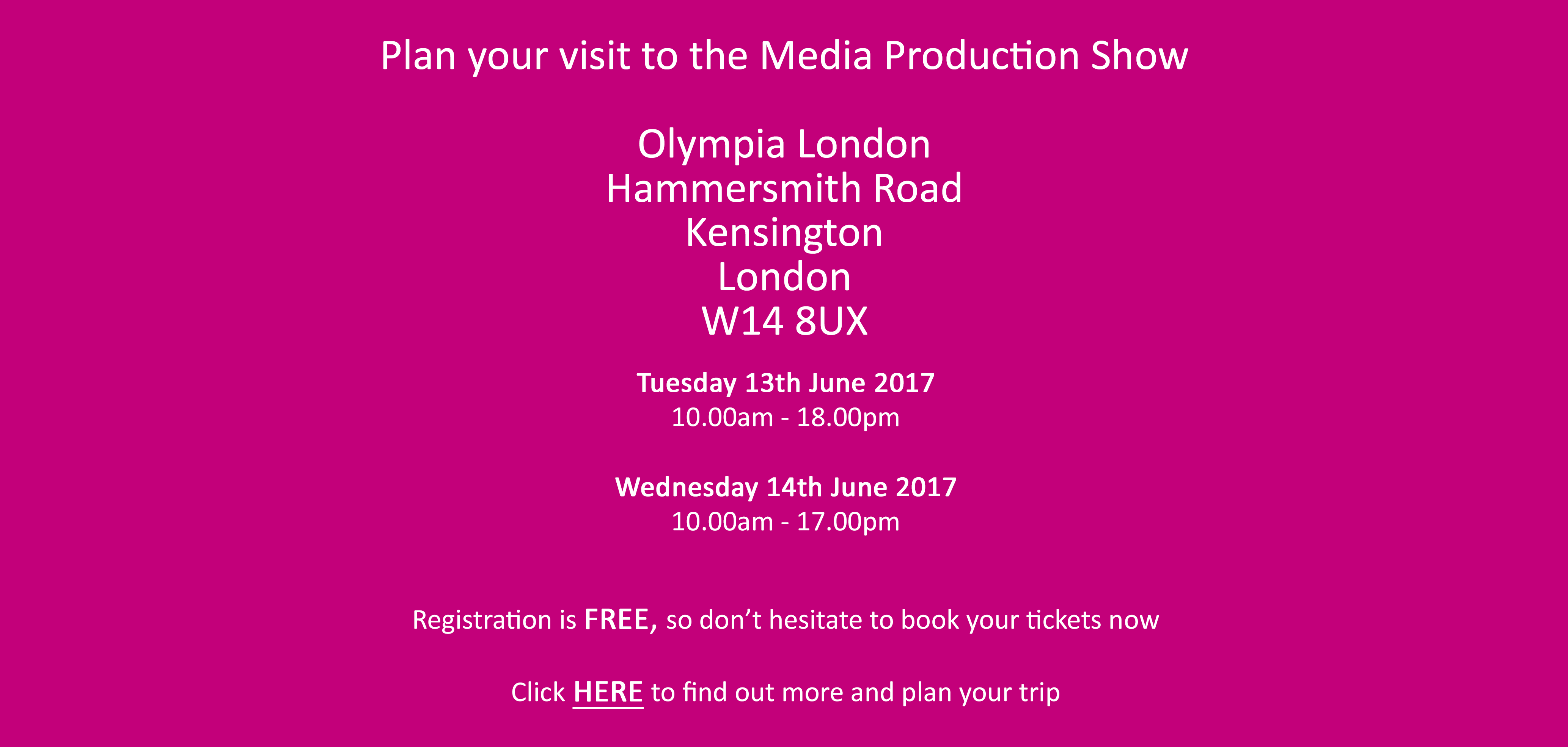 Plan Your Visit To The Media Production Show 2017