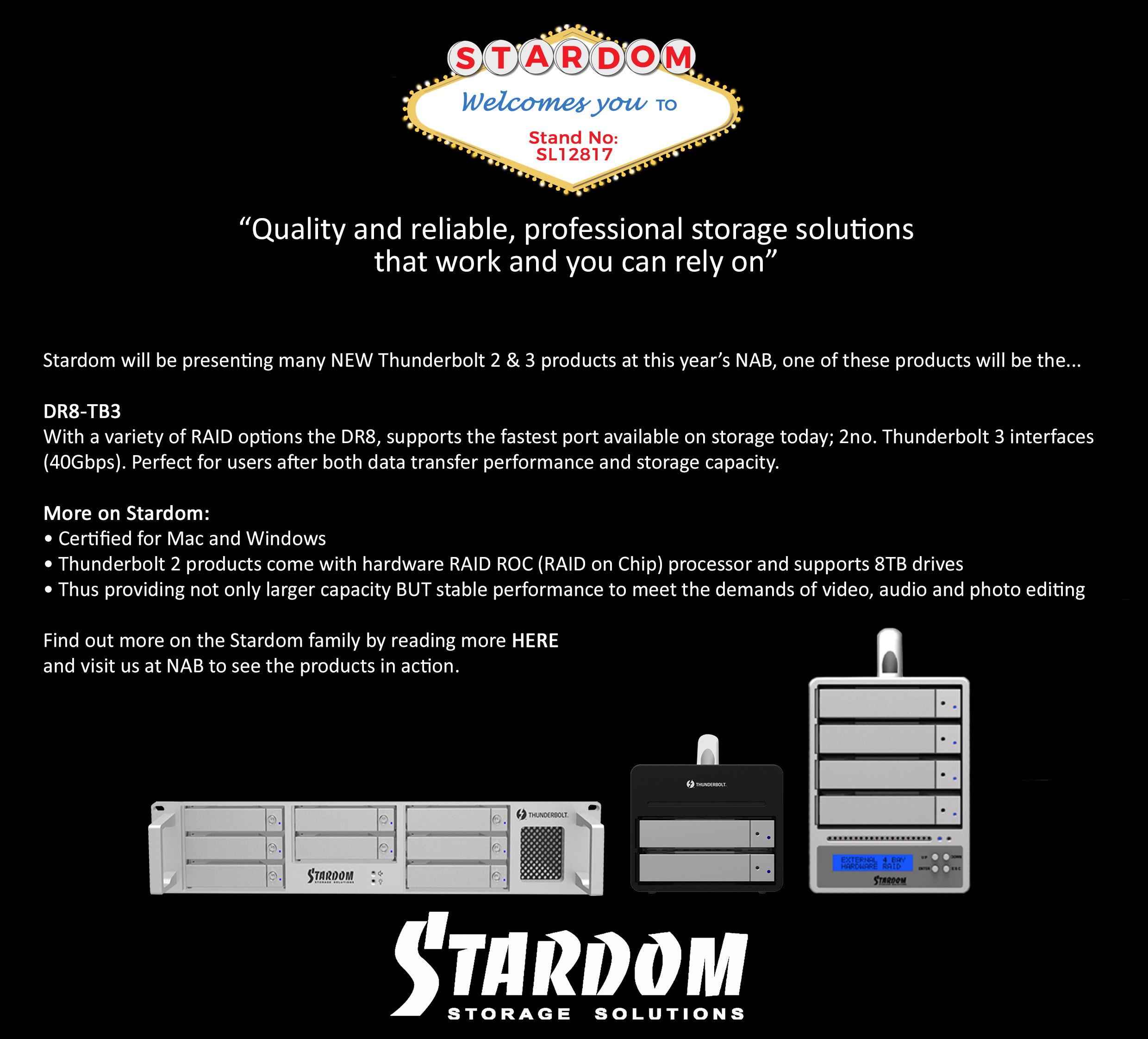 Planning Your Visit For NAB Show 2017? Don't Miss Stardom, Cost Effective RAID Storage