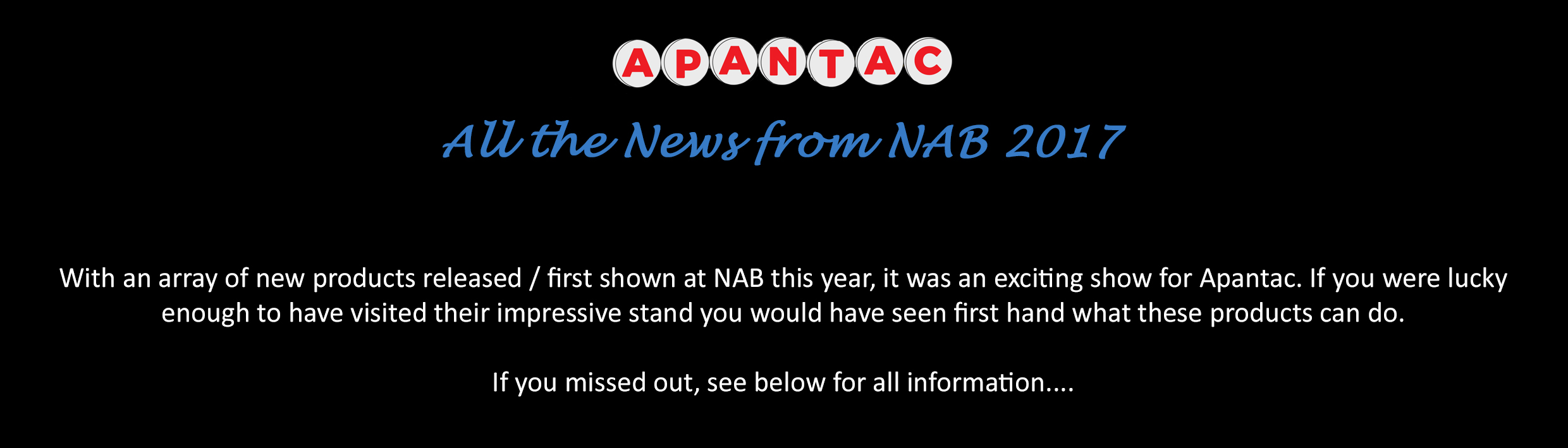 Post NAB 2017 News_Cost Effective Multiviewers from Apantac