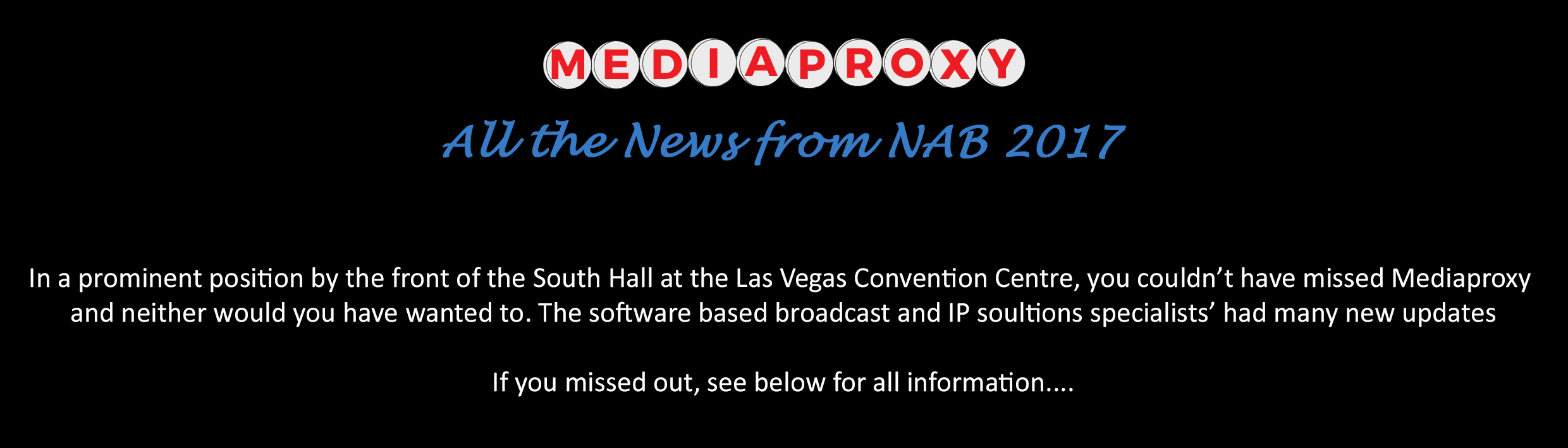 Post NAB 2017 News_The IP Solutions Specialists'_Mediaproxy