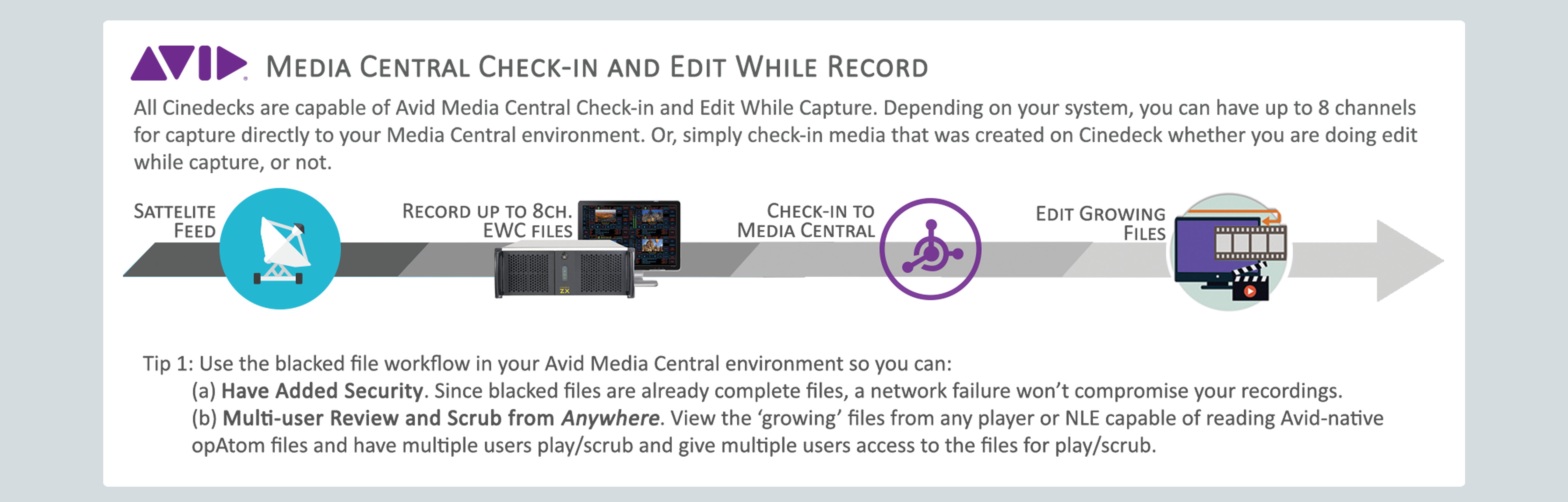 Post NAB News_Cinedeck_Avid Interplay Check In & Edit While Record_Workflow Diagram