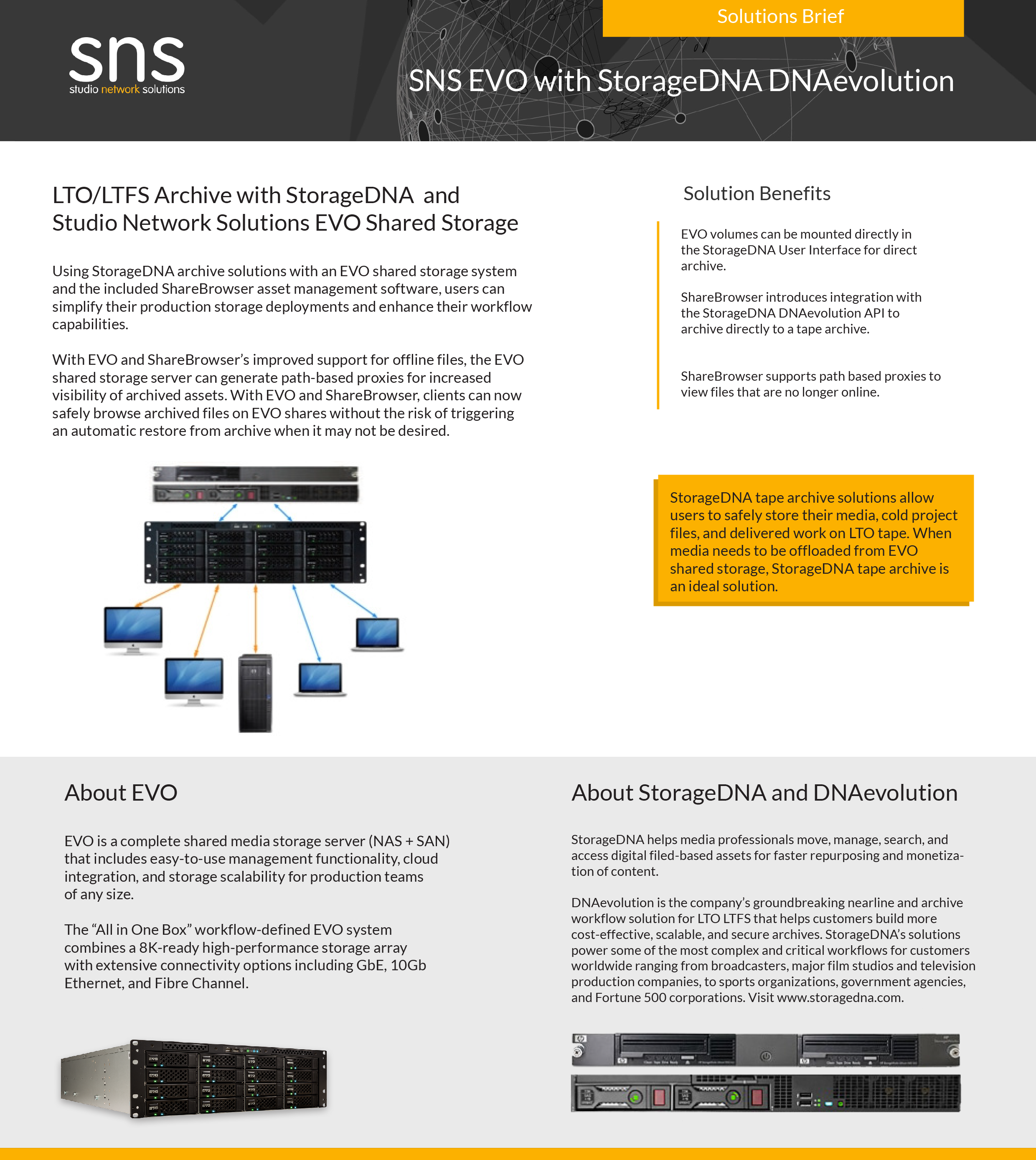Archive with StorageDNA  and Studio Network Solutions EVO Shared Storage