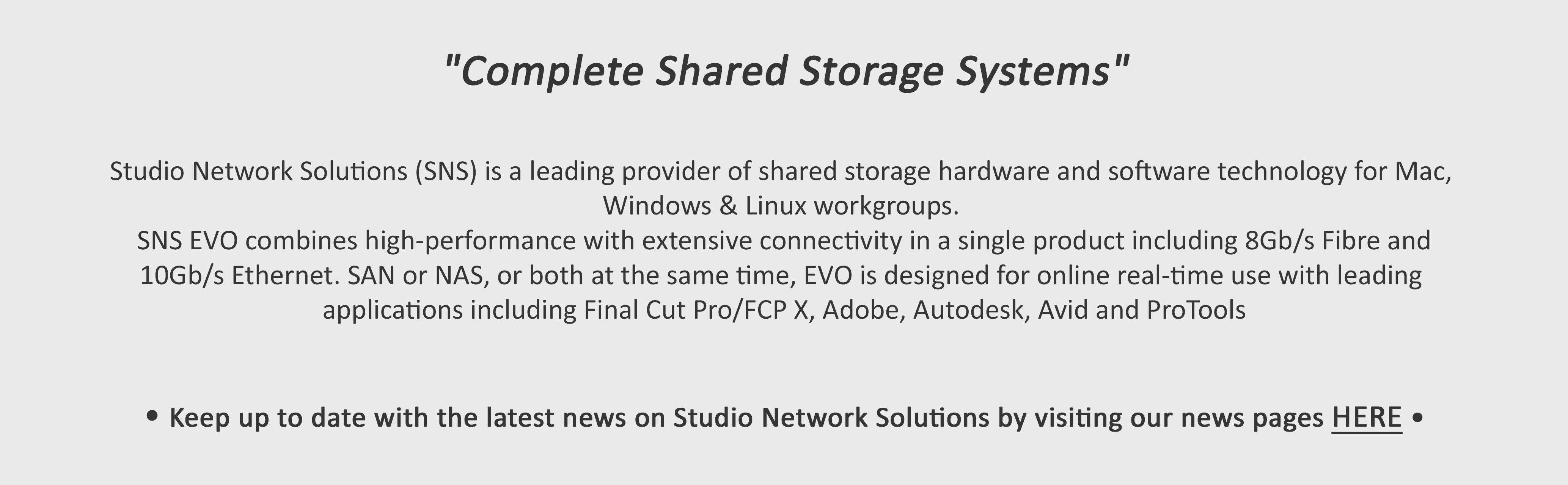 Studio Network Solutions_Shared Storage Solutions_Intro
