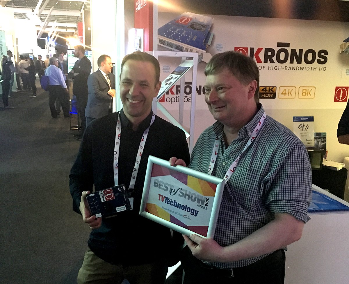 Bluefish444_Tom and Jonathan with TV Technology Award and NEW Kronos Card_IBC 2016